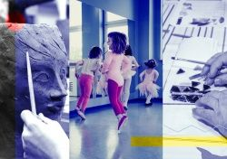 kolaż zdjęć | gliniana głowa rzeźby, dzieci na sali baletowej, ręce wykonujące pracę witrażową